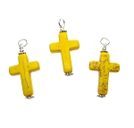 Yellow Magnesite Cross Necklace Pendant, Gemstone Cross Spiritual Jewelry