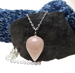 Rose Quartz Pendulum Necklace 18-inch Silver Wiccan/Pagan/Reiki/Divination/Energy Work/Dowsing