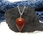 Goldstone Pendulum Necklace 18-inch Silver Wiccan/Pagan/Reiki/Divination/Energy Work/Dowsing