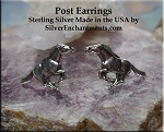 Sterling Silver Horse Post Earrings, Mustang Earrings