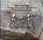 Sterling Silver Octopus Post Earrings, Kraken Earrings