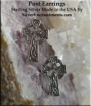Sterling Celtic Cross Post Earrings, Celtic Earrings - CLEARANCE