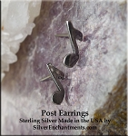 Sterling Silver Music Note Post Earrings