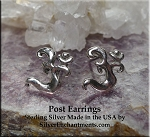 Sterling Silver Om Post Earrings, Om Stud Earrings