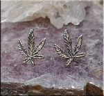 Sterling Silver Marijuana Post Earrings, Cannabis Leaf Earrings, Ganja Earrings