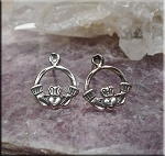 Claddaugh Earrings, Sterling Silver Celtic Stud Earrings