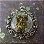 Two Tone Silver and Bronze Owl Pendant