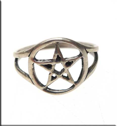 Sterling Silver Pentacle Ring, Size 7.5
