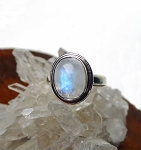 Sterling Silver Moonstone Ring Size 4, .925 Silver Rainbow Moonstone Ring