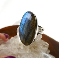Sterling Silver Large Oval Labradorite Ring Size 5.5