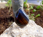 SOLD - Banded Onyx Ring, Sterling Silver Size 8
