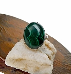 Malachite Ring Size 8, .925 Sterling Silver Large Genuine Malachite