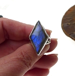 SOLD - Sterling Silver Diamond Labradorite Ring Size 7, Blue Flash