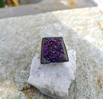 Sterling Silver Purple Druzy Ring Size 10, Genuine Druzy