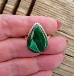 Sterling Silver Malachite Ring Size 9, Genuine Natural Malachite