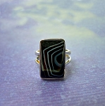 SOLD - Sterling Silver Banded Onyx Ring Size 9