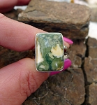 ZSOLD / Sterling Silver Rhyolite Ring Size 8, Stone of Creativity and Insight, Rainforest Jasper Ring