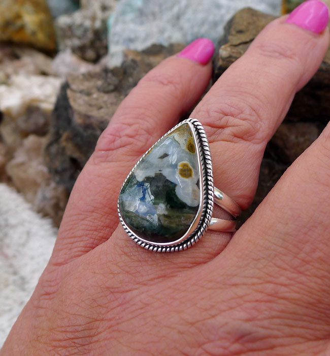 Ocean Jasper ring silver Ring natural stone 92.5 Sterling silver jewellery