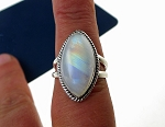 ZSOLD / Rainbow Moonstone Ring Size 9 in Solid Sterling Silver .925 Moonstone Jewelry