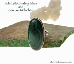 Sterling Silver Malachite Ring Size 5