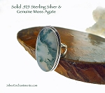 Large Moss Agate Ring Size 10