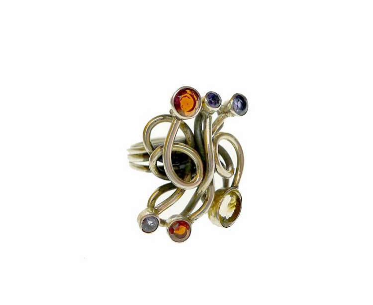 Medusa Ring, Unique Large Multi-Gemstone Size 8