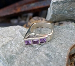 Unique Square Amethyst Ring Size 6.5