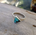 ZSOLD / Turquoise Ring Size 8 in Sterling Silver, .925 Silver Small Offset Triangle