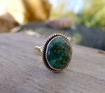 Hubei Turquoise Ring Size 9 in Sterling Silver, Natural Spiderweb Turquoise