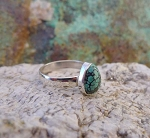 Teardrop Spiderweb Turquoise Ring Size 9, Sterling Silver, Natural