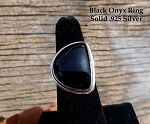 Sterling Silver Asymmetrical Black Onyx Ring Size 7 - SOLD