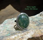 SOLD - Moss Agate Ring Size 10, Sterling Silver