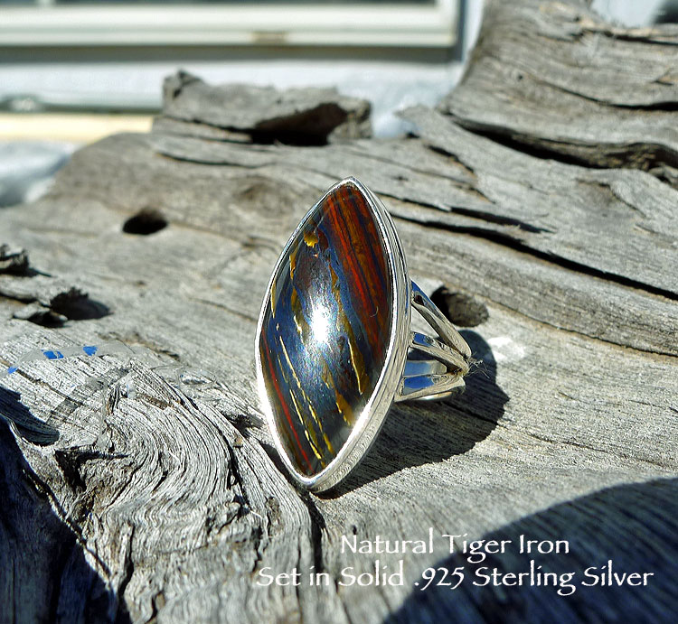Large tiger eye ring; size 9 with option to resize 92.5 sterling silver; marquise shape