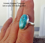 Kingman Turquoise Ring Size 8, Sterling Silver