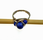 Sodalite Ring, Sterling Silver Ring with Triple Sodalite Gemstones - Size 6