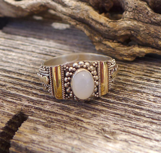 Moonstone Ring - Two-tone Sterling Silver and Gold Ring with Genuine Moonstone Gemstone Ring - Size 6.5