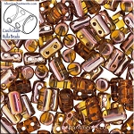Rulla Beads, Topaz Apollo Gold, 10g Czech Rulla Seed Beads 3x5mm