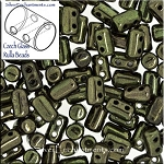 Rulla Beads, Metallic Green, 10g Czech Rulla Seed Beads 3x5mm