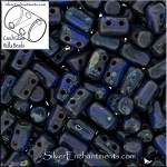 Rulla Beads, Opaque Blue Picasso, 10g Czech Rulla Seed Beads 3x5mm