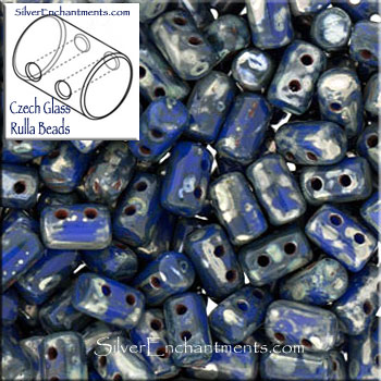 Rulla Beads, Opaque Blue Blue Picasso, Czech Rullas, 2-hole Seed Beads 3x5mm