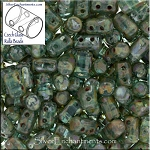 Rulla Beads, Aquamarine Picasso, 10g Czech Rulla Seed Beads 3x5mm