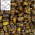 Rulla Beads, Opaque Yellow Picasso, 10g Czech Rulla Seed Beads 3x5mm