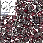 Rulla Beads, Siam Ruby Blue Picasso, 10g Czech Rulla Seed Beads 3x5mm