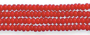 Czech Seed Bead Hank, Opaque Dark Red, Size 13/0