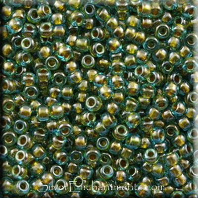 SOLDOUT - 11/0 Miyuki Seed Beads, Inside Color Lined Olive Green, Tube, 11RR-0229