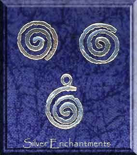 Sterling Silver Celtic Jewelry Set, Spiral Stud Earrings and Charm