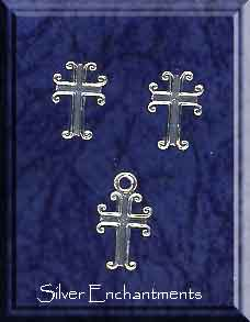 Sterling Silver Christian Jewelry Set, Gothic Cross Stud Earrings and Charm