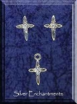Sterling Silver Christian Jewelry Set, Cross Stud Earrings and Charm