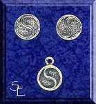 Sterling Silver Zen Jewelry Set, Yin-Yang Stud Earrings and Charm