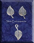 Sterling Silver Leaf Post Earrings and Matching Charm Gift Set